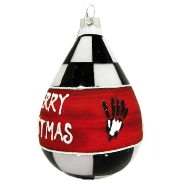 """Χριστουγεννιάτικη Γυάλινη Μπάλα Σταγόνα, Σκακιέρα με Επιγραφή """"Marry Christmas"""" (8cm)"""