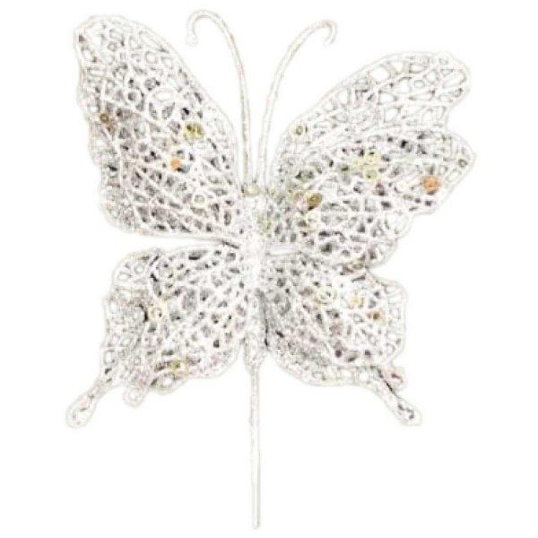 Χριστουγεννιάτικη Πεταλούδα Λευκή, με Πικάκι (20cm)