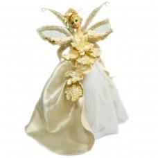 Χριστουγεννιάτικη Κορυφή Δέντρου, Κεραμικός Άγγελος, Χρυσό και Λευκό με Λουλούδια (36cm)