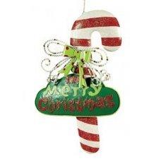 Χριστουγεννιάτικο Κρεμαστό Μπαστουνάκι, Κόκκινο με Πράσινη Ταμπελίτσα με Ευχές (30cm)