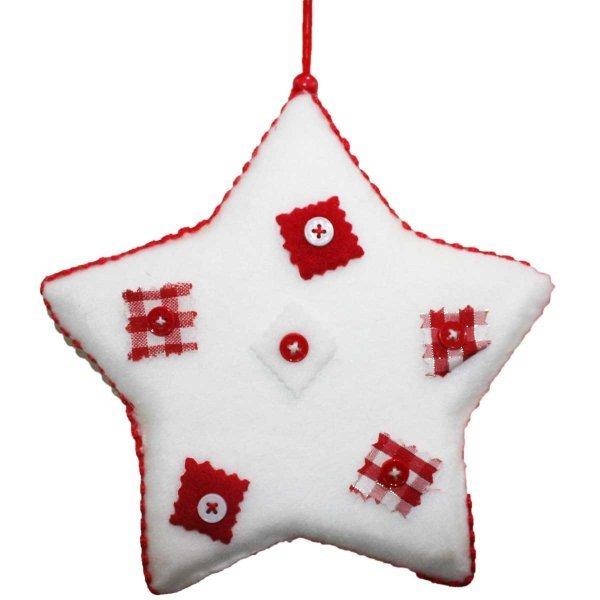 Χριστουγεννιάτικο Αστέρι Λευκό με Κόκκινα Κουμπιά (20cm)