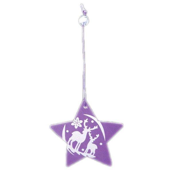 Χριστουγεννιάτικο Κρεμαστό Ξύλινο Αστεράκι, Μωβ με Ταράνδους (8cm)