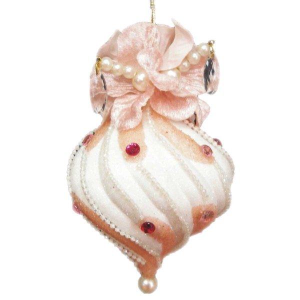 Χριστουγεννιάτικη Κρεμαστή Καραμέλα, Ροζ με Λευκό (10cm)