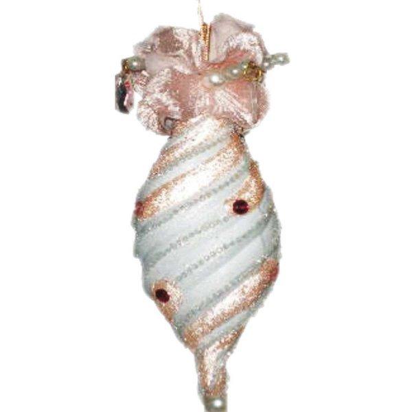 Χριστουγεννιάτικη Κρεμαστή Καραμέλα, Ροζ με Λευκό (16cm)