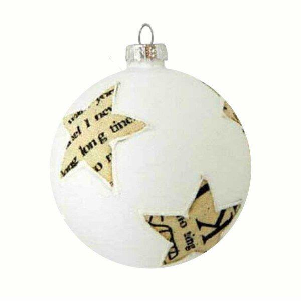 Χριστουγεννιάτικη Γυάλινη Μπάλα Λευκή, με Υφασμάτινα Αστέρια με Γράμματα (8cm)