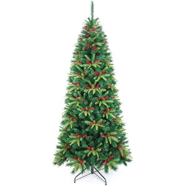 Χριστουγεννιάτικο Δέντρο Forbes Slim Fir με Γκι και Κουκουνάρια (2,40m)