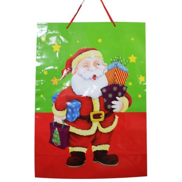 Χριστουγεννιάτικη Σακούλα Δώρου, με Άγιο Βασίλη και Αστεράκια (55cm)