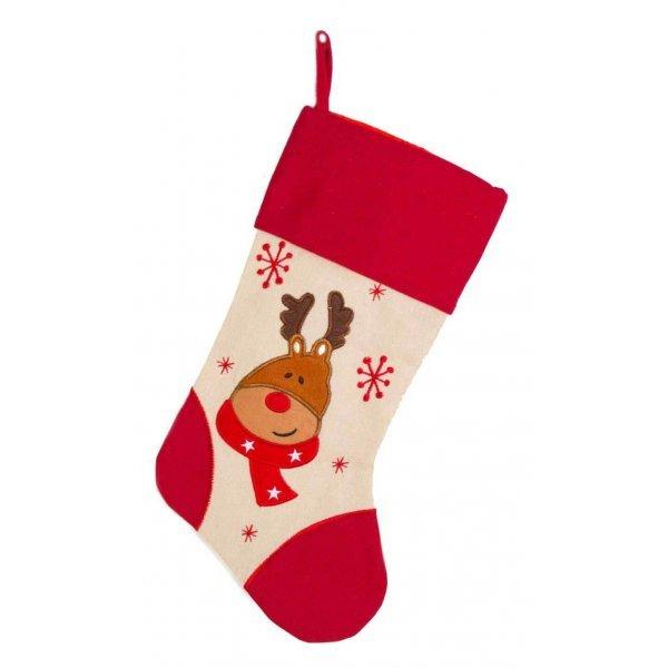 Χριστουγεννιάτικη Διακοσμητική Κάλτσα, Κόκκινη και Μπεζ, με Τάρανδο (45cm)
