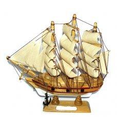 Χριστουγεννιάτικο Διακοσμητικό Ξύλινο Καράβι με Πανιά, Discovery (20cm)
