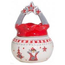Χριστουγεννιάτικη Κεραμική Μπισκοτιέρα, Λευκή με Κόκκινο Καπάκι και Αστεράκια (16cm)