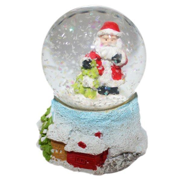 Χριστουγεννιάτικη Διακοσμητική Χιονόμπαλα, με Άγιο Βασίλη και Δεντράκι (8cm)