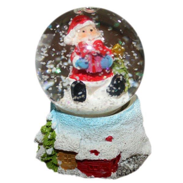 Χριστουγεννιάτικη Διακοσμητική Χιονόμπαλα, με Άγιο Βασίλη, Δώρο και Δεντράκι (8cm)