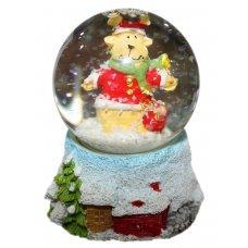 Χριστουγεννιάτικη Διακοσμητική Χιονόμπαλα, με Τάρανδο και Σάκο με Δώρα (8cm)