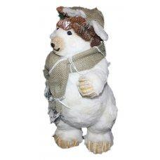 Χριστουγεννιάτικη Διακοσμητική Αρκούδα, με Κασκόλ από Λινάτσα και Κουκουνάρια (47cm)