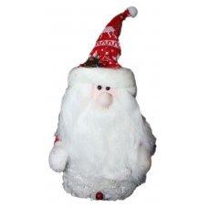 Χριστουγεννιάτικος Διακοσμητικός Άγιος Βασίλης, με Κόκκινο Πλεκτό Σκουφάκι, Κουκουνάρι και Γκι (35cm)