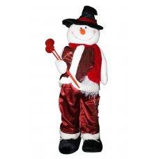 Χριστουγεννιάτικος Διακοσμητικός Χιονάνθρωπος, με Κόκκινα Ρούχα και Μαύρο Ψηλό Καπέλο (1m)