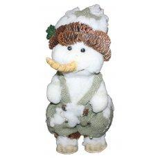 Χριστουγεννιάτικος Διακοσμητικός Χιονάνθρωπος, με Ρούχα από Λινάτσα και Κουκουνάρια (47cm)