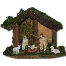Χριστουγεννιάτικη Φάτνη Ξύλινη, με 6 Φιγούρες (17cm)
