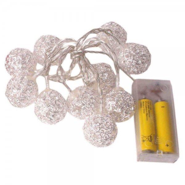10 Λευκά Θερμά Λαμπάκια LED Μπαταρίας, με Μεταλλικές Μπάλες (1.1m)