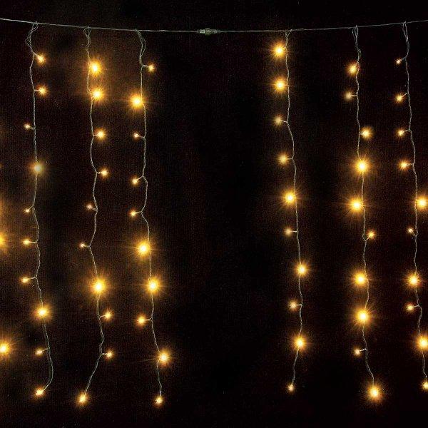 Κουρτίνα LED Επεκτεινόμενη, με 200 Λευκά Θερμά Λαμπάκια και Διάφανο Καλώδιο (2x1m)
