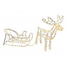 Χριστουγεννιάτικο Ελάφι και Έλκυθρο, με 14m Λευκό Θερμό Φωτοσωλήνα (1,4m)