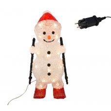 Χριστουγεννιάτικος Χιονάνθρωπος Σκιέρ, με Κόκκινο Σκούφο και 30 LED (30cm)