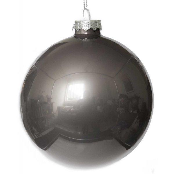 Χριστουγεννιάτικη Γυάλινη Μπάλα, Σκούρο Γκρι (10cm)