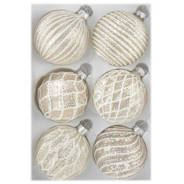 Χριστουγεννιάτικες Γυάλινες Μπάλες με Ανάγλυφα Σχέδια, Μπεζ Ανοιχτό -  Σετ 6 τεμ. (8cm)