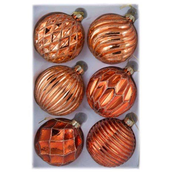 Χριστουγεννιάτικες Γυάλινες Μπάλες Μπρονζέ με Ανάγλυφα Σχέδια, Σετ 6 τεμ. (8cm)