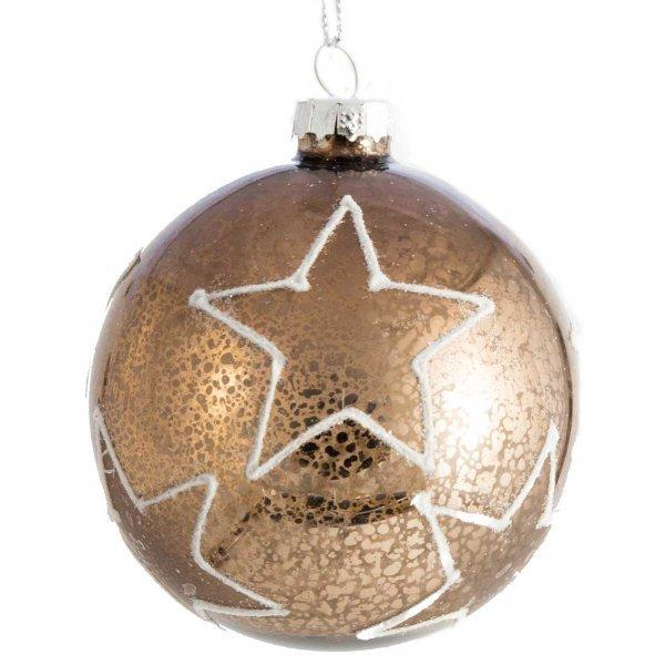 Χριστουγεννιάτικη Γυάλινη Μπάλα Καφέ Αντίκα με Λευκά Ανάγλυφα Αστεράκια (8cm)