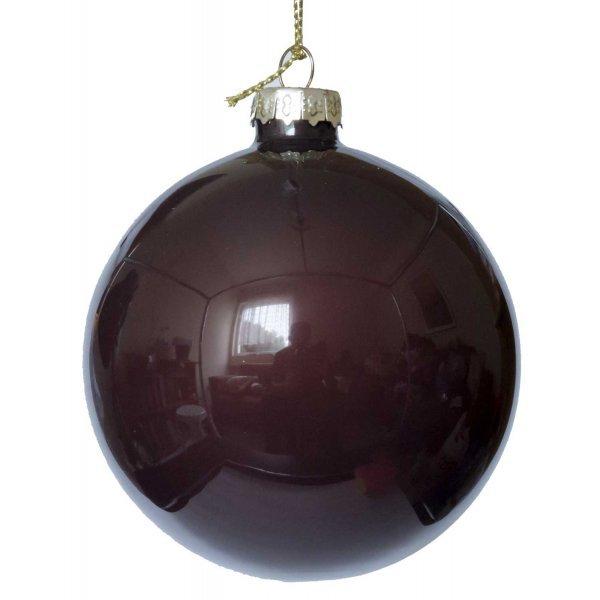 Χριστουγεννιάτικη Γυάλινη Μπάλα Καφέ Σκούρο (8cm)
