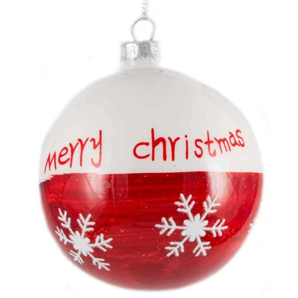 Χριστουγεννιάτικη Γυάλινη Μπάλα Κόκκινη - Λευκή, με Ευχή και Χιονονιφάδες (10cm)