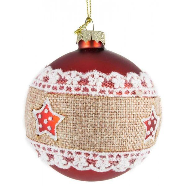 Χριστουγεννιάτικη Γυάλινη Μπάλα Κόκκινη, με Λινάτσα και Αστεράκια (8cm)
