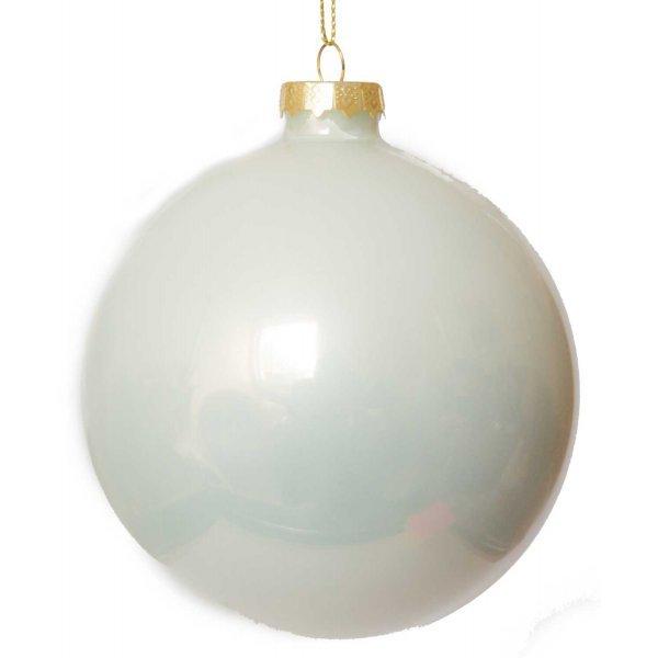 Χριστουγεννιάτικη Γυάλινη Μπάλα, Λευκή (10cm)