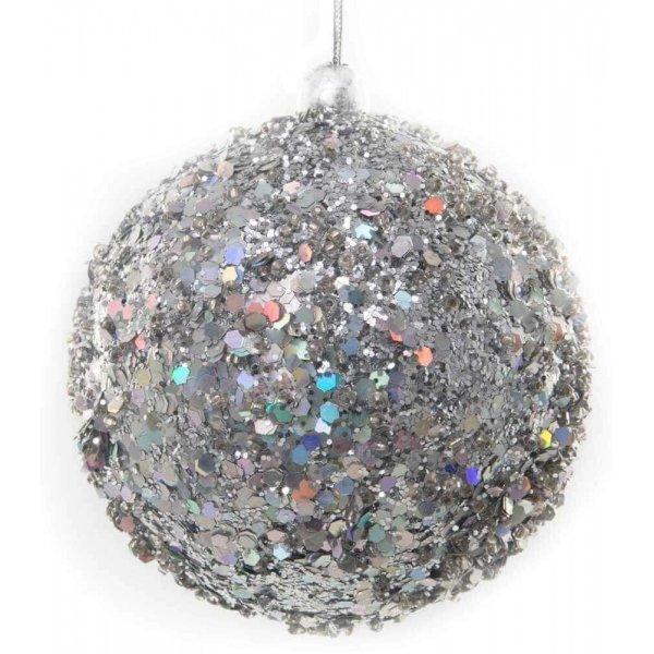 Χριστουγεννιάτικη Μπάλα Ασημί, με Στρας (8cm)