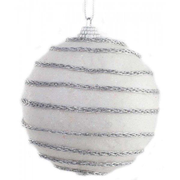 Χριστουγεννιάτικη Μπάλα Λευκή, με Ασημί Αλυσίδα (8cm)