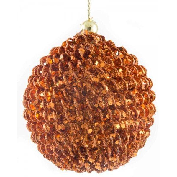 Χριστουγεννιάτικη Μπάλα Μπρονζέ, Ανάγλυφη (8cm)