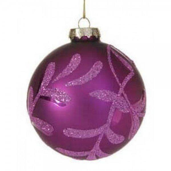 Χριστουγεννιάτικη Γυάλινη Μπάλα Μωβ, με Σχέδια (10cm)