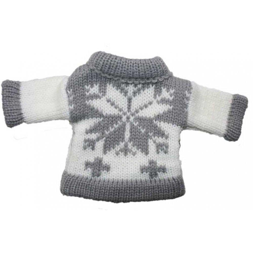 893210cb08a Χριστουγεννιάτικο Κρεμαστό Πλεκτό Μπλουζάκι, Γκρι με Χιονονιφάδα (11cm)