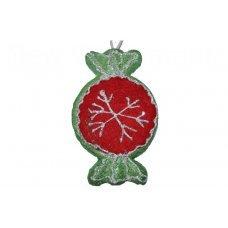 Χριστουγεννιάτικη Κρεμαστή Καραμέλα, Πράσινο με Κόκκινο (15cm)