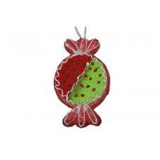 Χριστουγεννιάτικη Κρεμαστή Καραμέλα, Ροζ με Πράσινο (15cm)