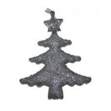Χριστουγεννιάτικο Κρεμαστό Στολίδι Δεντράκι, Ασημί με Στρας (12cm)