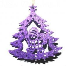 Χριστουγεννιάτικο Κρεμαστό Τσόχινο Δεντράκι, Μωβ με Άγιο Βασίλη (10cm)