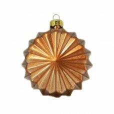 Χριστουγεννιάτικη Γυάλινη Μπάλα Μπρονζέ, με Ανάγλυφα Σχέδια - Ήλιος (8cm)