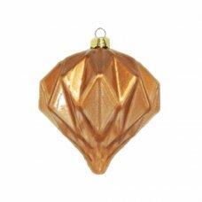 Χριστουγεννιάτικη Γυάλινη Μπάλα Μπρονζέ, με Ανάγλυφα Σχέδια - Σταγόνα (8cm)
