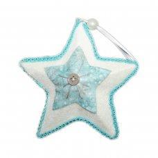 Χριστουγεννιάτικο Κρεμαστό Υφασμάτινο Αστέρι, Λευκό και Γαλάζιο με Κουμπί (12cm)