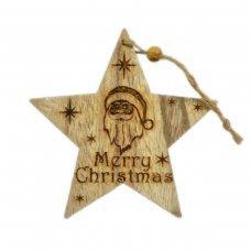 """Χριστουγεννιάτικο Ξύλινο Αστέρι Καφέ με """"Merry Christmas"""" και Άγιο Βασίλη (14cm)"""