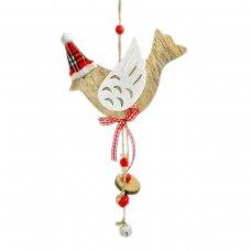 Χριστουγεννιάτικο Κρεμαστό Ξύλινο Πουλάκι, με Κόκκινο Καρό Σκούφο και διάφορα Κρεμαστά (25cm)
