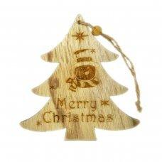 """Χριστουγεννιάτικο Ξύλινο Δεντράκι Καφέ με """"Merry Christmas"""" και Χιονάνθρωπο (14cm)"""