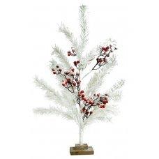 Χριστουγεννιάτικο Επιτραπέζιο Δέντρο Λευκό με Γκι (56cm)
